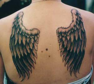 angel wing tattoo style for girls