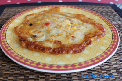 Savoury chickpea flour pancakes (but using normal flour): Carole's Chatter
