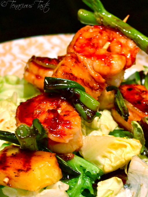 ... Soy Glazed Shrimp Skewers with Grilled Pineapple and Green Onions