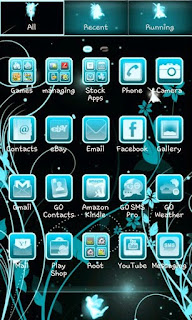 Screenshots of the Fairy Blue Go Launcher Ex for Android mobile, tablet, and Smartphone.