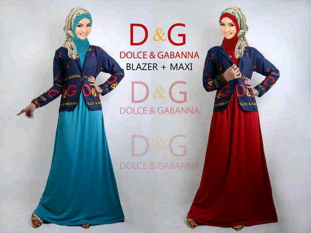 Busana: Baju Gamis Maxy Jersey With Cardi Denim (BHM-010)