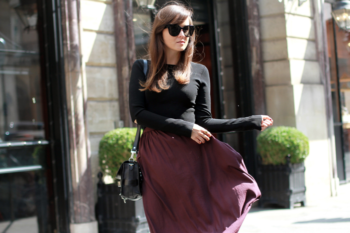 Fashion blogger Andy Torres from StyleScrapbook, Look of the day in Paris wearing a maxi skirt, Arson flame boots and Proenza Schouler bag