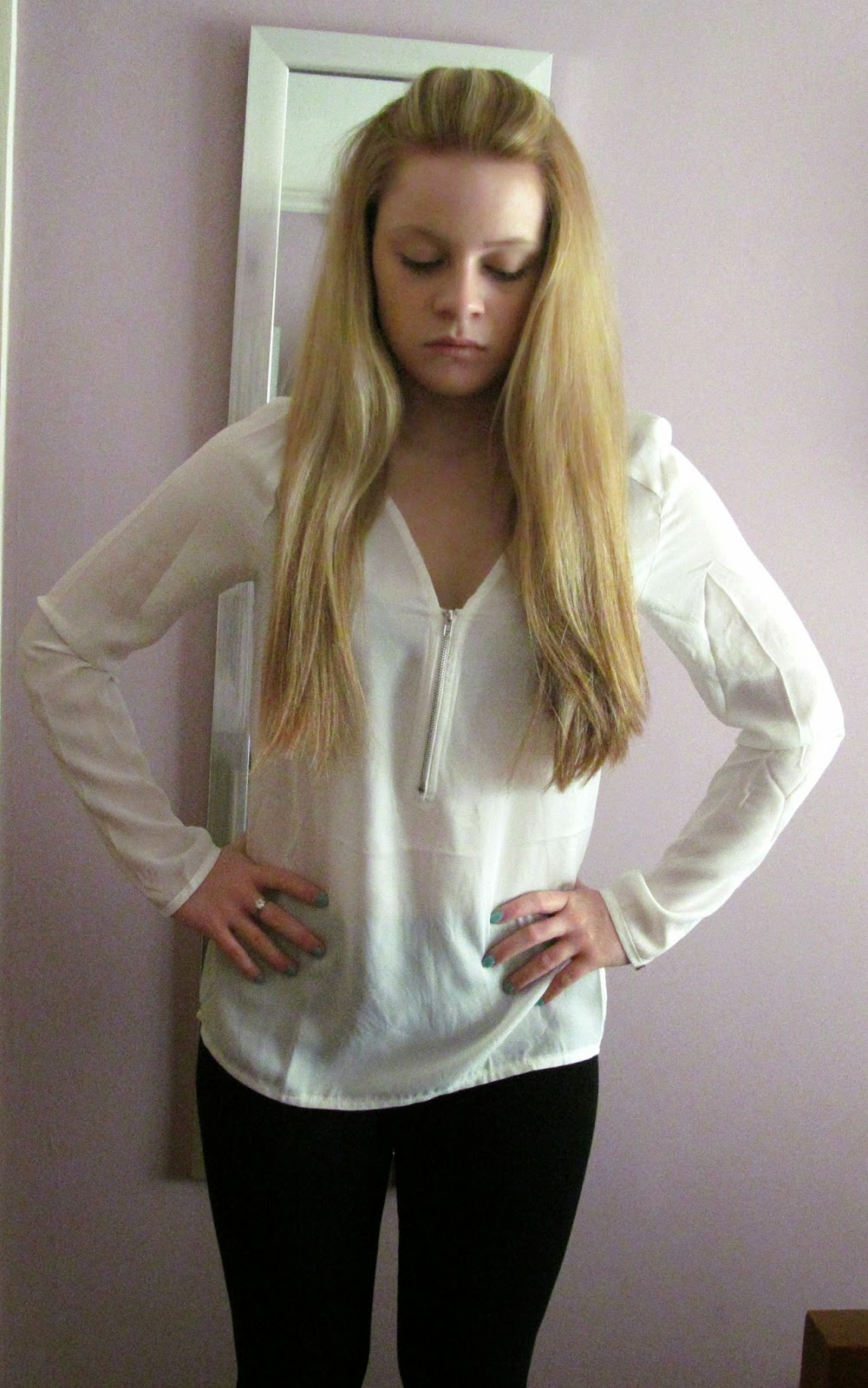 boohoo long sleeved blouse