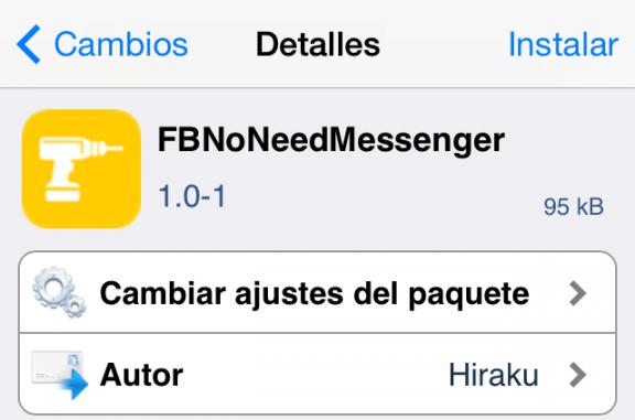 FBNoNeedMessenger tweak cydia