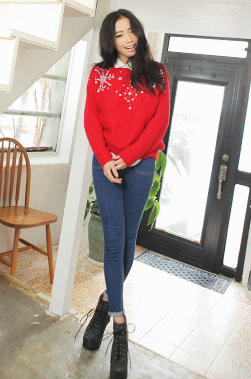 Studded Snowflake Knit Shirt