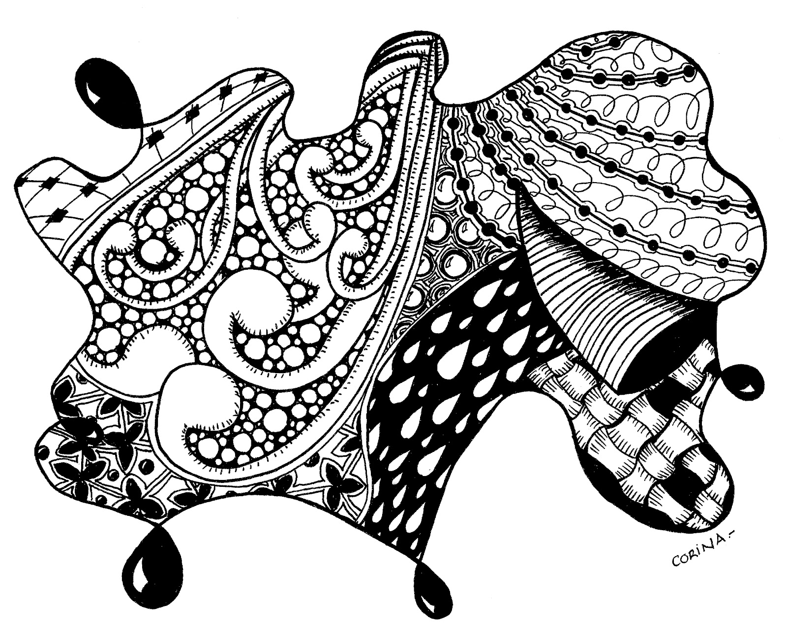 Zentangle Coloring Pages Cat Sketch