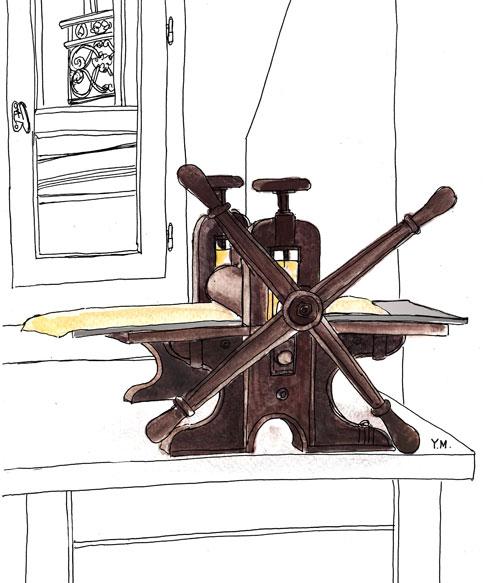Etching press by Yukié Matsushita