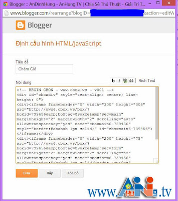 khung chat blogger blogspot wordpress