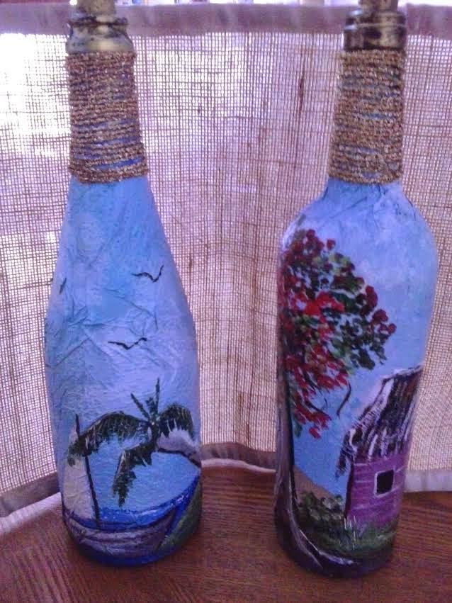 Desouvre pintar botellas de cristal o vidrio sobre papel - Como decorar botellas con papel ...