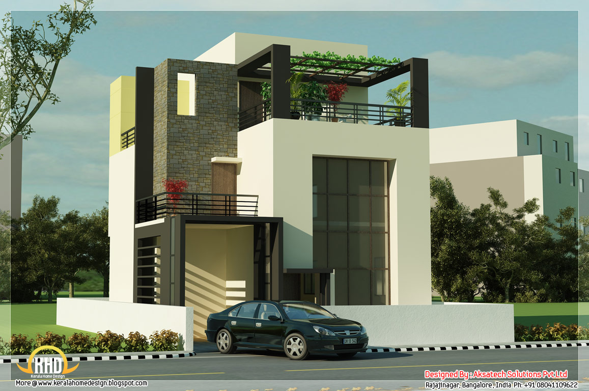 5 beautiful modern contemporary house 3d renderings for Small indian house plans modern