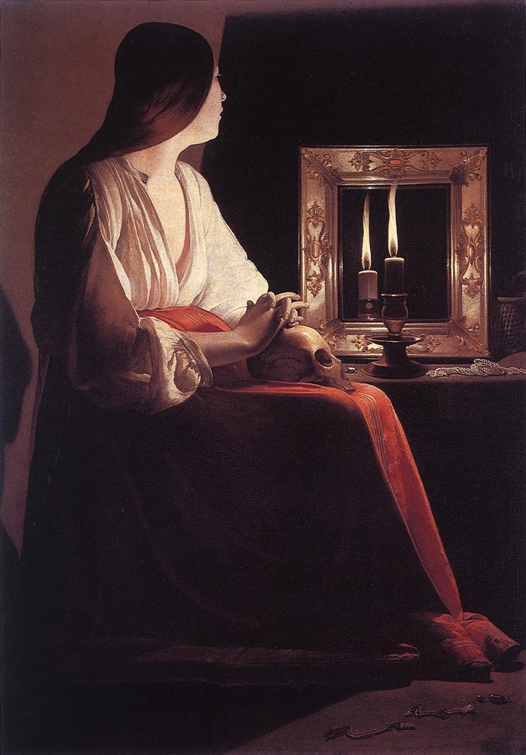 Georges de la Tour The Penitent Magdelen Two Candles 1640