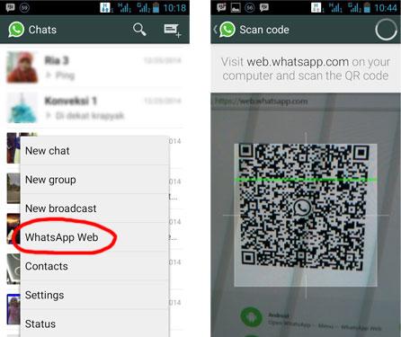 Dengan menggunakan menu WhatsApp Web kita bisa login dengan scanning kode bar di web.whatsapp.com
