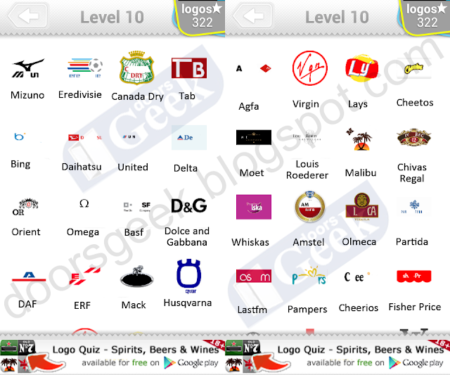 Logo Quiz Level 10 Answers by bubble quiz games - Doors Geek
