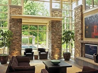 Revestimiento en piedras para muros interiores innovarq Revestimiento de madera para muros interiores