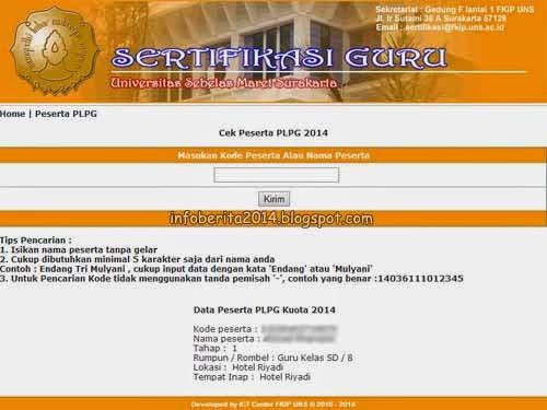 Pencarian peserta PLPG FKIP UNS 2014