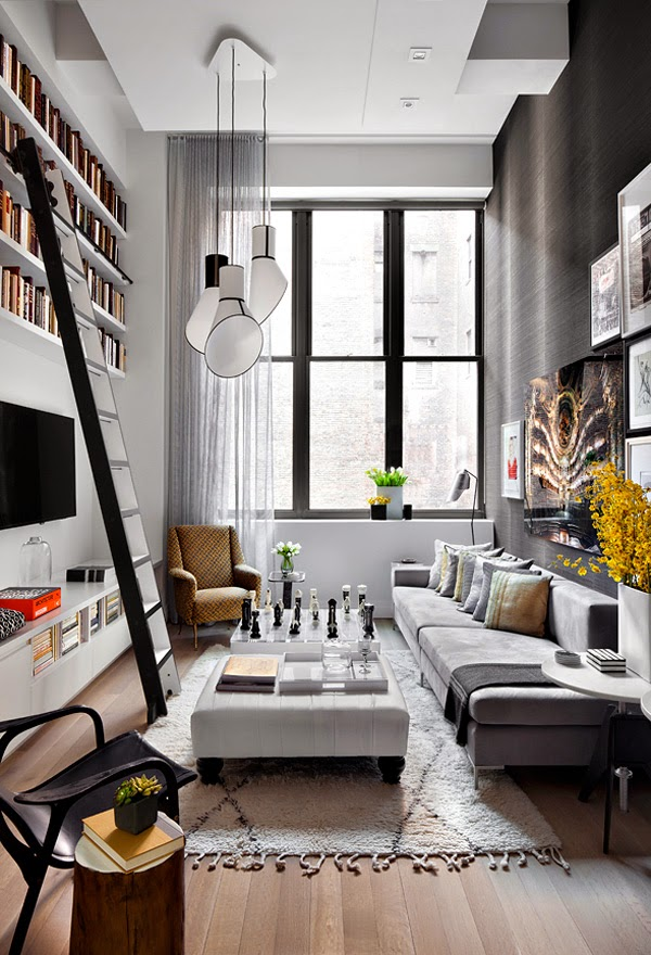 un apartamento de doble altura en gris y amarillo a grey and yellow apartment vintage chic. Black Bedroom Furniture Sets. Home Design Ideas