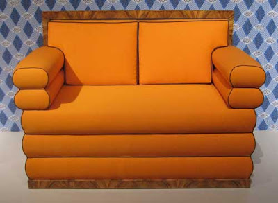 Orange Art Deco-looking settee