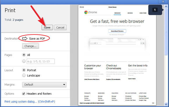 Image result for Save Web Pages as PDFs in chrome
