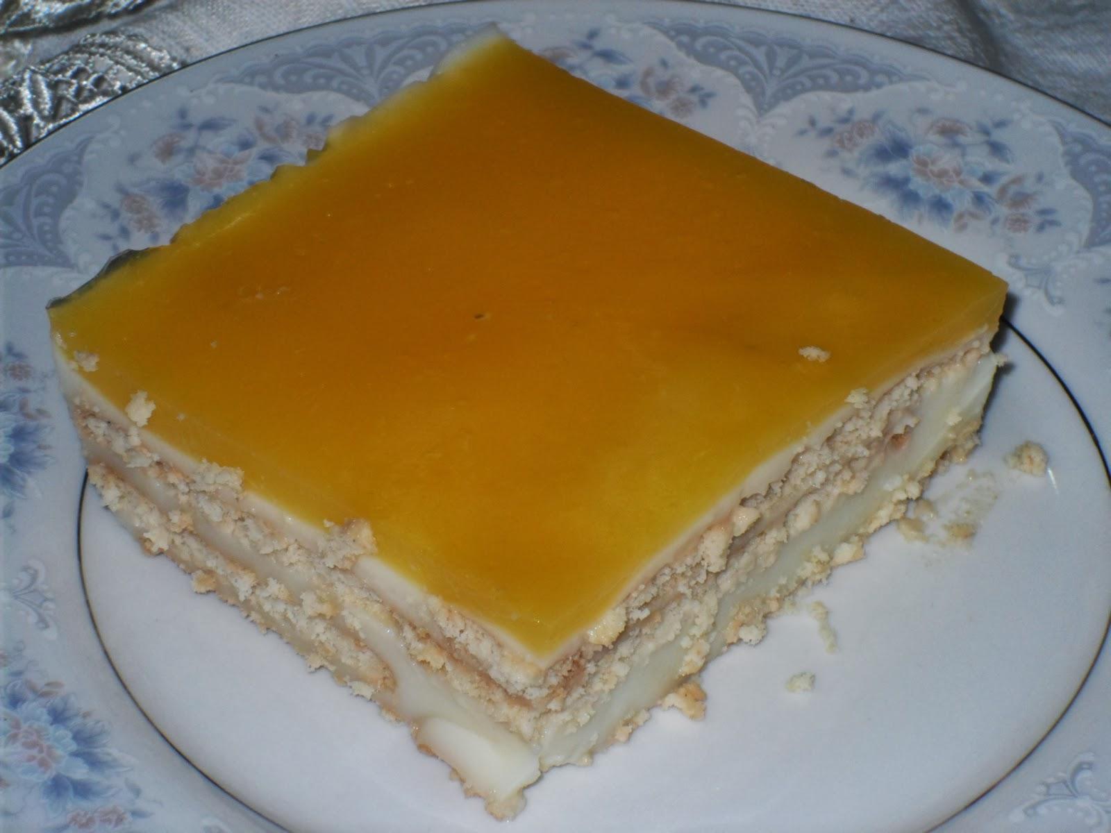 Portakal Jöleli,Kremalı Bisküvi Tatlısı Tarifi