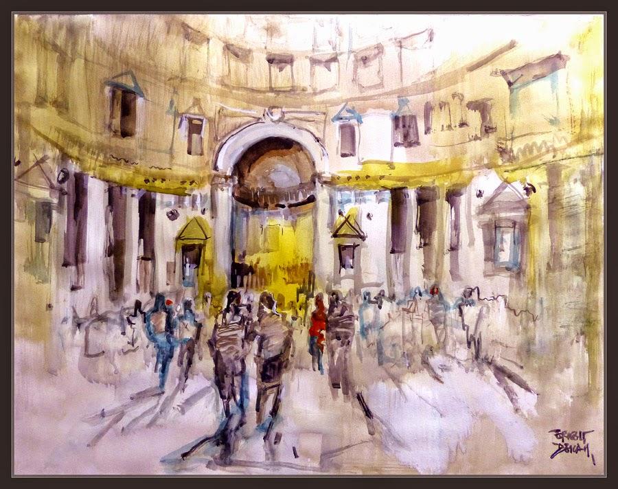 PANTEON-ROMA-PINTURA-ACUARELAS-ARTE-HISTORIA-IMPERIO-MONUMENTOS-PINTOR-ERNEST DESCALS-