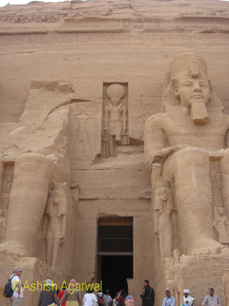 The main entrance to the Abu Simbel temple in South Egypt