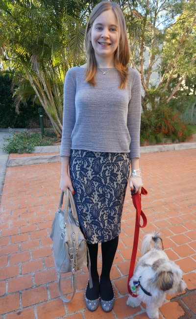 Away From Blue Brisbane Winter Outfit Lace Pencil skirt grey jumper
