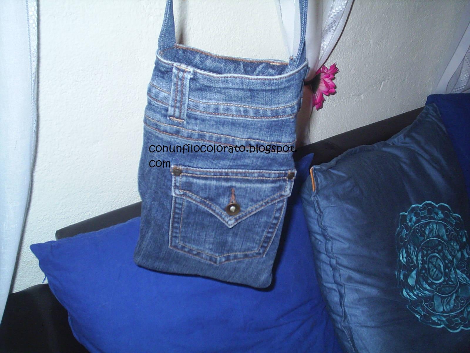 Con un filo colorato borse in jeans modelli vari for Borse fai da te jeans