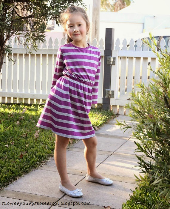 Japanese-sewing-book-dress-pattern-for-girls-purple-stripe-knit-dress
