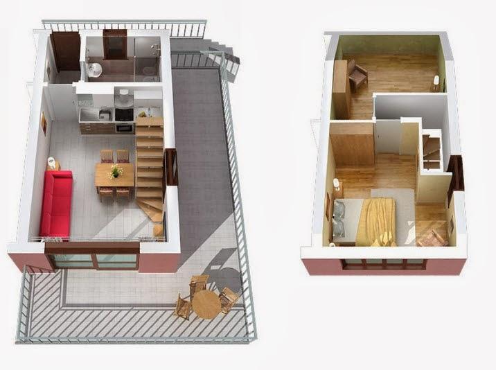 Departamentos peque os planos y dise o en 3d construye for Modelos salas para departamentos pequenos
