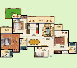 Amrapali Terrace Homes :: Floor Plans 3 BHK + 3T + Terrace