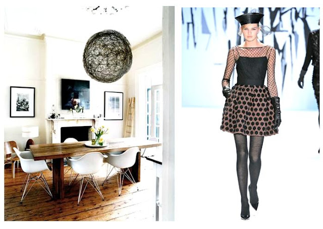Left: White Eames chairs surround a farmhouse dining table with a large modern black pendant light above. Right: A modern winter polka dot dress with sheer sleeves from Milly's fall 2012 collection