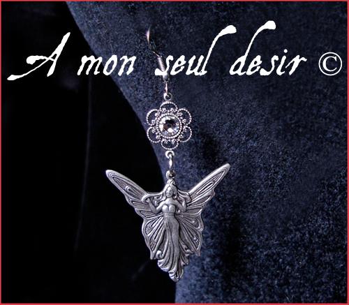 boucles d'oreilles fée bijou elfe féerique elfique magie blanche fairy elf earrings elven jewel