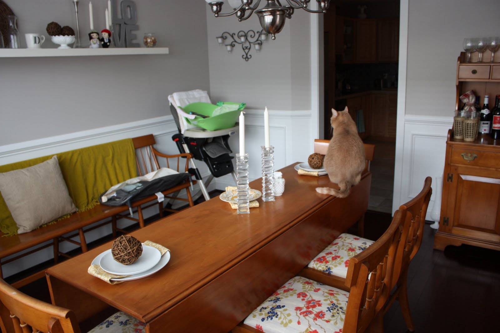 Here Was Our Messy Junky Dining Room Just Last Week With The Old Set Of Furniture And A Bunch Other Crap Weve Accumulated Like White Armoire