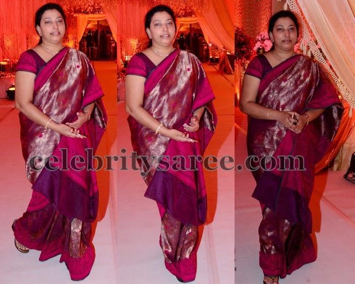 Vasundhara Balakrishna Maroon Silk Sari
