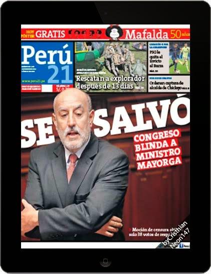 Diario Perú21 (01 Octubre 2014) ESPAÑOL - Se salvó, Congreso blinda a Ministro Mayorga