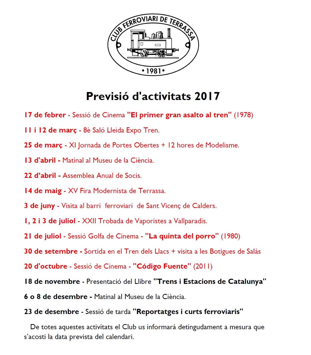 Actualització de la Previsió d'Activitats del Club Ferroviari de Terrassa. 7-NOVEMBRE-2017