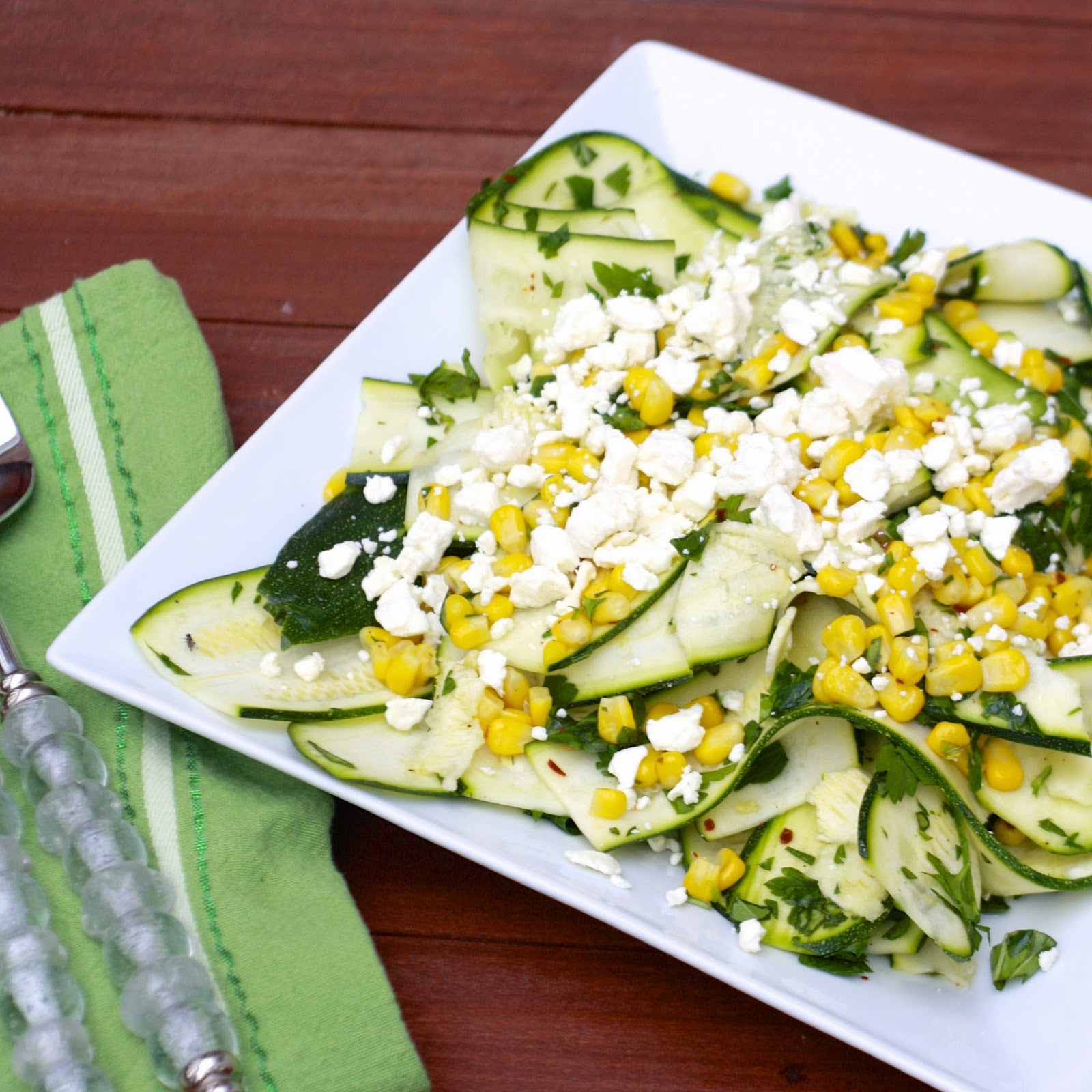Corn and Zucchini Salad with Feta | The Sweets Life
