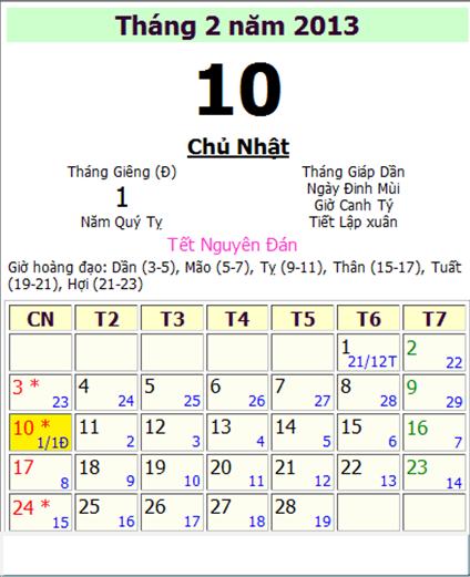 tỵ 2013 vào ngày 9/2/2013 - tức ngày 29 âm lịch (30 tết