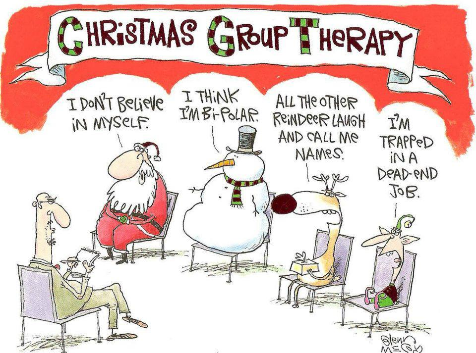 Funny Christmas Cartoons Santa Group Therapy