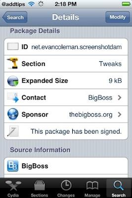 ScreenShot Dam Cydia App BigBoss