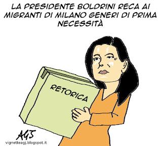 boldrini, stazione centrale milano, migranti, satira vignetta