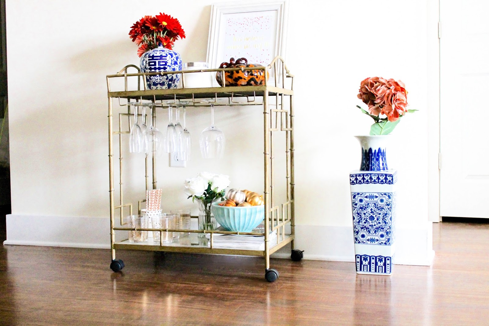 Gold Bar Cart, Fall Bar Cart, Decorate Bar Cart for Fall, Ginger Jar, Ginger Vase, Move Loot, Home Decor, Fall Decorating