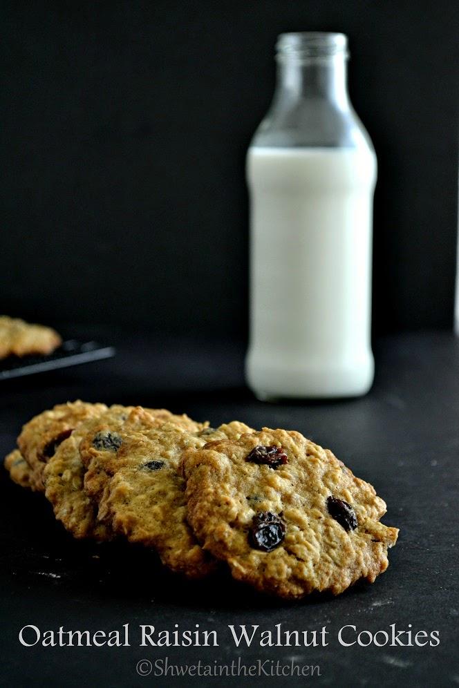 Shweta in the Kitchen: Oatmeal Raisin Walnut Cookies