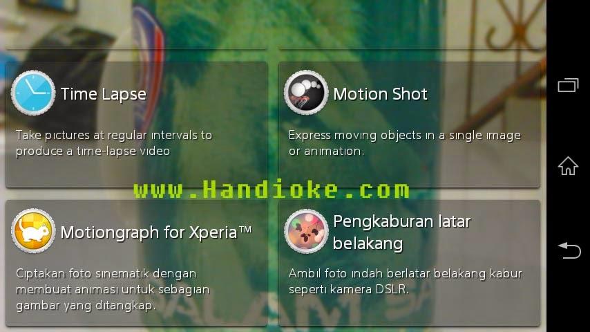 Motion Shot pada menu kamera