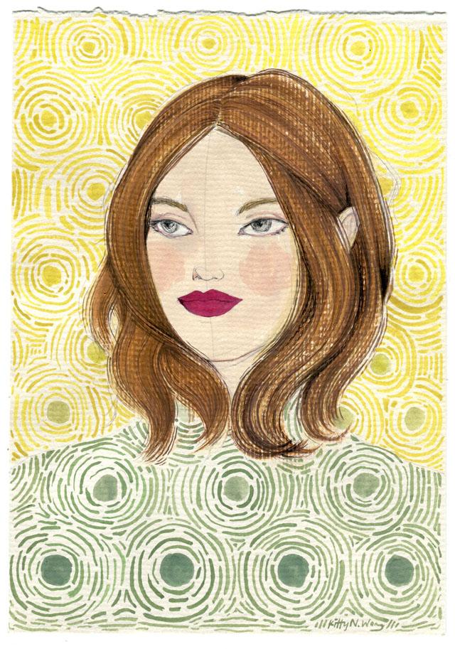 Kitty N. Wong / Vincent Van Girgh. Sketchbook Girls fashion painting