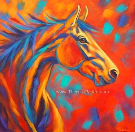 Abstract Horse Painting In Bright Colors By Theresa Paden