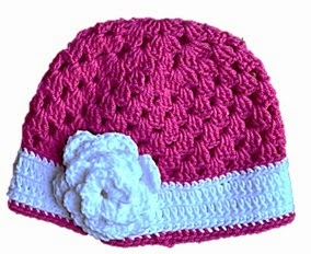 Pink Crocheted Hat with White Band and Flower