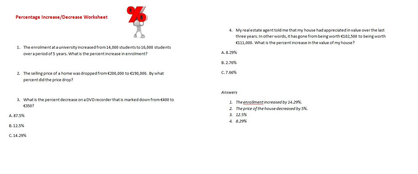 Theme of the day:percent increase and decrease worksheet
