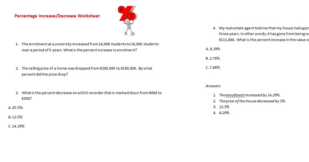 Ms Zammit Blog Worksheets On Percentages