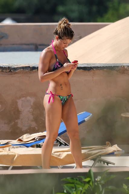 Gemma Atkinson Bikini Candids Sunbathing Poolside